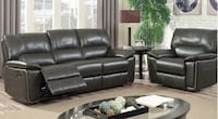 black leather 3-seat recliner sofa Brampton