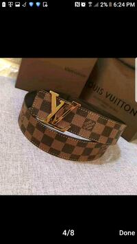 brown and black Louis Vuitton leather belt Sterling, 20164