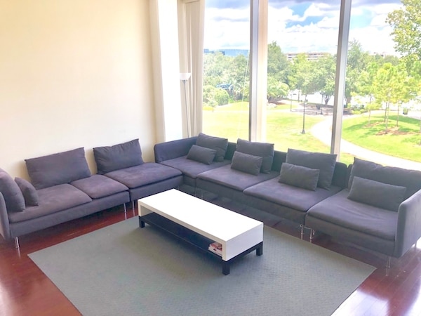 5 piece IKEA SODERHAMN sectional couch sofa with chaise lounge, corner, and  ottoman living room moving