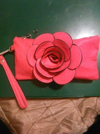 Hot Pink Faux Leather Clutch With Flower Embellish Kelowna
