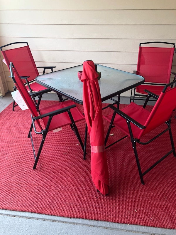 Used Red Patio Set With Umbrella And Red Carpet For Sale In Euless