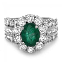 Spectacular Rock Star Emerald / Damond white gold ring Jessup, 20794