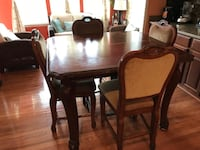 rectangular brown wooden table with six chairs dining set CHANTILLY