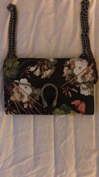 Gucci 'Dionysus' Black and Floral Small Leather with Gold Chain Strap St Handbag