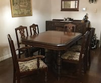 Solid Walnut Antique Dining Room Set & Buffet w/8 Chairs (orig. set of 6 + 2) Oakville, L6H 5K2
