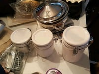 white ceramic 3-piece air tight canister set