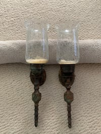 Glass candle wall sconces- pair