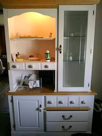 white and brown wooden cabinet nice needs to go Te