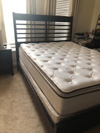 Like new Queen Panel b ed with Queen Shea mattress and box, nightstand and lamp