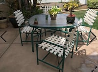 Outdoor aluminum Furniture patio set FIVE (5) pieces TABLE + Four (4) chairs Temescal, 92883