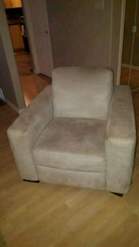 gray suede sofa chair with throw pillow Edmonton, T6M 0M3