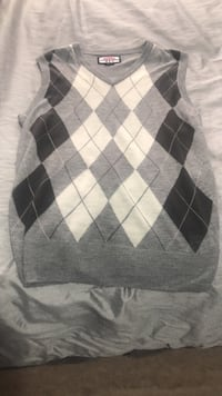 black and gray argyle sweater Vaughan