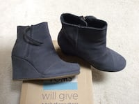 Pair of grey  suede chunky heeled booties Port Coquitlam, V3C 6M3