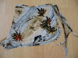 Wrap Around Shorts white and black floral textile