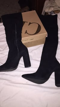 pair of black suede heeled boots Saratoga Springs