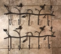 2 Rustic birds on branch metal 5 hook coat rack Palm Bay, 32907