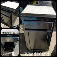 Black wooden island cabinet on wheels with marble  Queen Creek, 85140