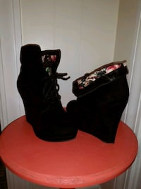 pair of black suede chunky heeled booties Cranston, 02920