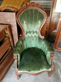 brown wooden framed green padded armchair Austin, 78744