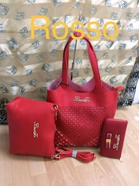 tote bag in pelle rossa e marrone