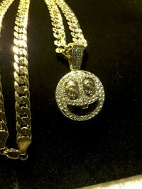 """NEW necklace Emoji with Iced-Out face $ eyes & 24"""" Cuban chain Ladson, 29456"""