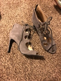 pair of gray leather open toe ankle strap heels Union, 39365