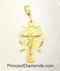 Sterling silver 24kt gold plated Jesus cross pendant charm