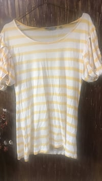 white and gray striped  t-shirt with a creative sleeve pattern - hardly worn, size M-L  Mumbai, 400064
