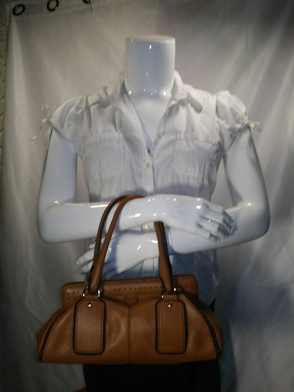 Ann taylor brown leather tote bag and white blouse