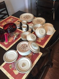 white and red ceramic dinnerware set Fort Erie, L0S 1N0