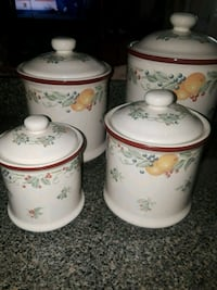white-and-red floral ceramic canisters El Paso, 79905