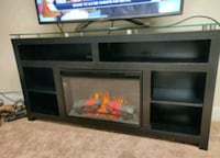 Black TV  Stand with fireplace. Upper Saddle River, 07458