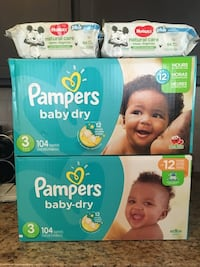 Set of 2 pampers baby dry SIZE 3 diaper 104 w 2 packs 64ct wipes.all for $50 658 mi