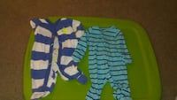 boy's two blue and teal striped footie sleepers Takoma Park, 20912