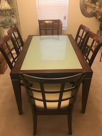 Dining Table with Glass Top (6 pc), Expandable DuPont, 98327