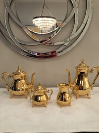 Vintage 24 Kt. Gold Electroplated 4 Piece Coffee & Tea Set 28 km