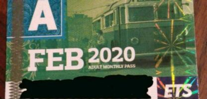 February Adult Bus Pass $80