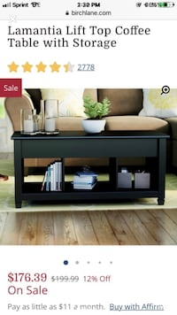 Brand New Black Lamantia Lift Top Coffee Table with Storage Wilmington