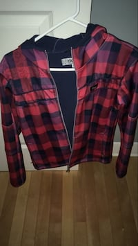 red and black checked zip-up hoodie
