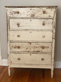 Vintage Antique tall boy Dresser Anthropologie Washed Wood 1920s White