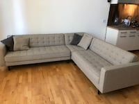 tufted gray suede sectional sofa SEATTLE