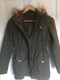 Girls Faux-fur Hooded Green Coat Jacket by Justice Sz Large Woodbine, 21797