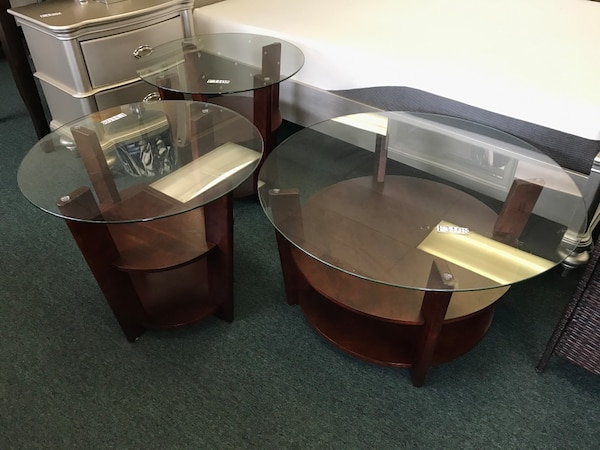 Used Three Round Glass Top Coffee Tables For Sale In