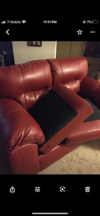 Two Red Leather Couches