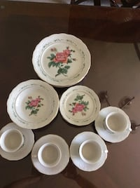 White and pink floral ceramic dinnerware set Stafford, 22556
