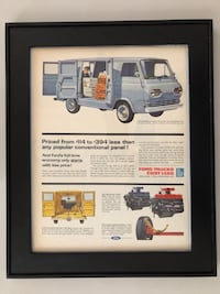 Vintage Framed Ford Magazine Advertisement (approx 16 3/4 x 13 1/2)