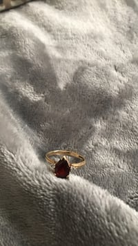 Garnet ring with diamond accents 10kt gold size 6 1/2 Powder Springs, 30127