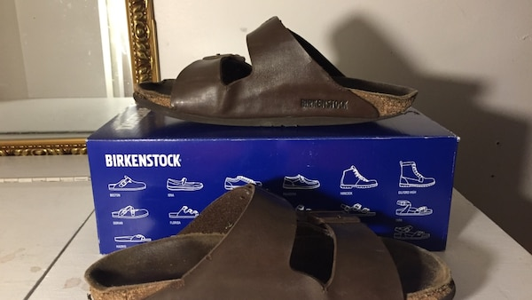 brown Birkenstock leather slide sandals with box