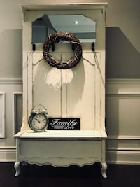 Shabby Chic Rustic Entryway Hall Tree Storage Bench
