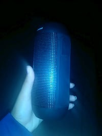 blue and white portable speaker null